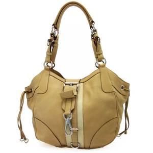 Prada prada shoulder bag tote beige leather ladies a1549