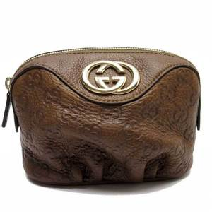 GUCCI Pouch Multi Case SHIMA INTERLOCKING G BROWN GOLD LEATHER ladies a1430