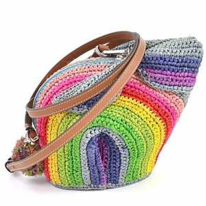 Loewe Paula's Bunny Rainbow Mini Bag Multi Color Raffia Calf LOEWE Ladies 130.50.T35 98019c