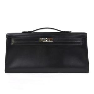 Hermes Handbag Pochette Kelly Long Black Box Calf HERMES Women's 98075b