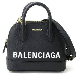 Balenciaga Handbag Shoulder Bag Bill Top Handle Calfskin Small Black White Leather BALENCIAGA Ladies d96643