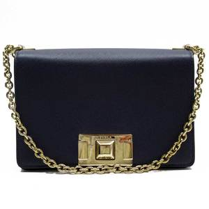 Furla FURLA Chain Shoulder Navy Gold Leather a1795c