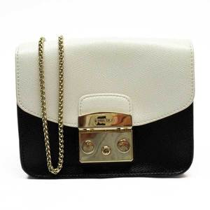 Furla FURLA ivory black gold leather ladies a1615