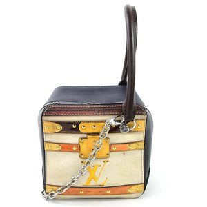 Louis Vuitton Handbag Shoulder Bag Time Trunk Square Off White Navy Black Leather PVC Ladies d97226