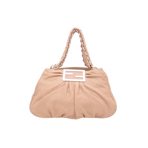 Fendi FENDI shoulder bag FF logo beige leather tote e39542