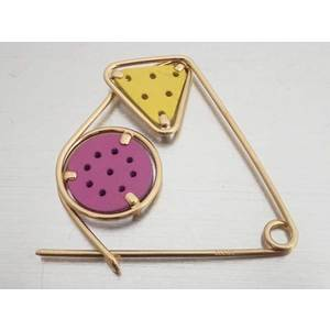 LOEWE Brooch Mechano Pin Gold Purple Yellow Leather Ladies e40540