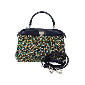 Fendi Peekaboo Navy Multicolored Beads Leather Handbag Shoulder Bag FENDI Ladies e36065