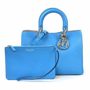 Christian Dior Handbag Shoulder Bag Diorissimo Blue Taurillon Leather Ladies d97256