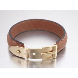 Gucci bracelet belt motif brown leather bangle ladies mens e42282