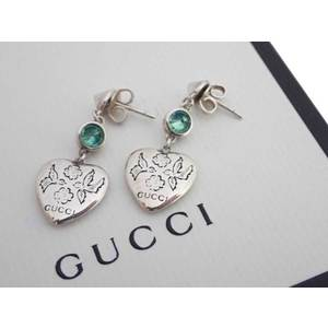 Gucci earrings heart motif silver green pink Ag925 colored stones drop ladies e43439