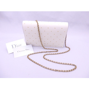 Christian Dior Shoulder Bag Wallet Off White Gold Leather Ladies e41248