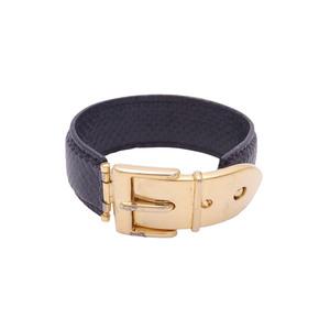 Gucci bracelet belt motif black gold embossed leather e41583