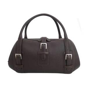 LOEWE bag logo brown leather shoulder handbag ladies e42092