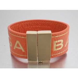 Balenciaga BALENCIAGA bracelet logo orange leather bangle ladies e42237