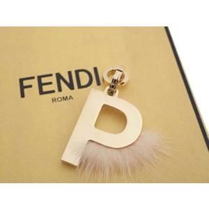Fendi FENDI Pendant Top Initial P Gold Pink Beige Fur Charm Ladies e42114