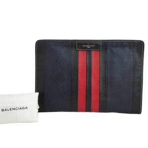 Balenciaga BALENCIAGA Clutch Bag Bazaar Black Navy Red Leather e41904