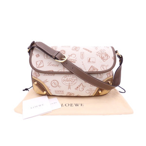 LOEWE Shoulder Bag 160th Anniversary Light Beige Brown Canvas Leather Ladies e41545