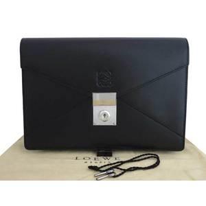 LOEWE Bag Anagram Black Leather Second Clutch Ladies Mens e42192