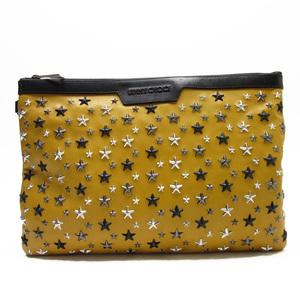 Jimmy Choo JIMMY CHOO clutch bag star studs camel black silver leather ladies men h21407
