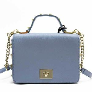 Kate spade kate handbag blue gold leather faux pearl ladies h22218