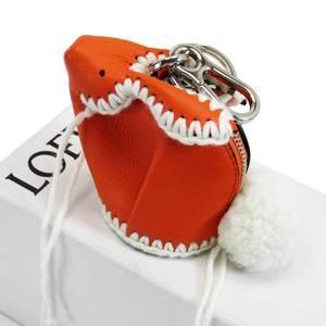 LOEWE Coin Case Charm Rabbit Orange Ivory Silver Leather Wool Ladies h22206
