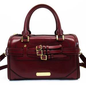 Burberry BURBERRY Handbag Shoulder Bag Bordeaux Gold Leather Ladies h22462
