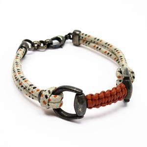Gucci GUCCI Bracelet Horsebit Ivory Orange Brown Metal Black Leather Cord Women Men h22718