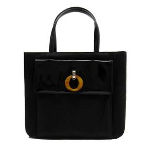 Christian Dior Handbag Black Nylon Canvas Patent Leather Ladies h21851