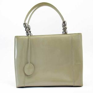 Christian Dior Handbag Silver Patent Leather Ladies h22457