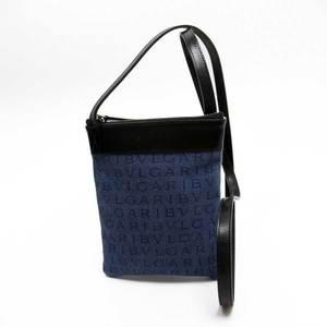 Bvlgari BVLGARI Logo Mania Black Indigo Blue Denim Canvas Leather Ladies h23522e