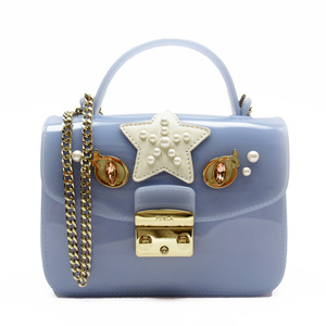 Furla FURLA Blue White Gold Rubber Leather Faux Pearl Color Stone Ladies h23579b