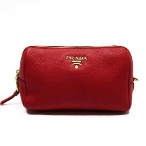 Prada PRADA Pouch Multi Case Red Gold Leather Ladies n9377c