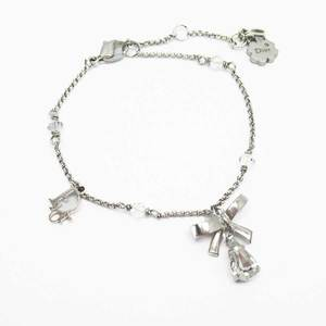 Christian Dior Bracelet Ribbon Silver Clear Stone Ladies h23697c