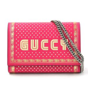 Gucci 2018S S GUCCY Print Chain Wallet Bright Pink (Gucci Shinjuku Store Limited Color) GUCCI Leather 524967 Ladies New Brand i0290
