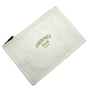 Hermes HERMES pouch multi-case Yotting ivory beige 100% cotton ladies men h23576b