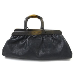 GUCCI Handbag Black Leather Wood Ladies 2188