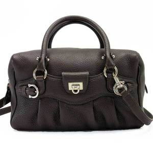 Salvatore Ferragamo Handbag Shoulder Bag Gantini Dark Brown Silver Leather Ladies 2719