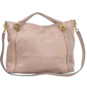 Gucci GUCCI Bag Interlocking G Dark Pink Gold Leather Handbag Shoulder Ladies r7805a