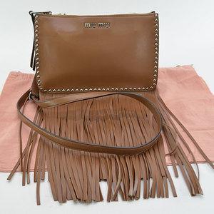 Miu MIUMIU Brown Silver Leather Ladies r6847