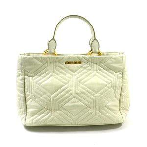 Miu MIUMIU handbag shoulder bag TALCO (off-white system) leather ladies RN0928 1923