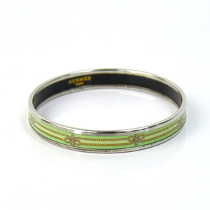 Hermes bracelet bangle Emayle green gold silver cloisonne HERMES Ladies 1734