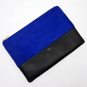 Celine CELINE Clutch Bag Blue Black Gold Harako Leather Ladies 2461