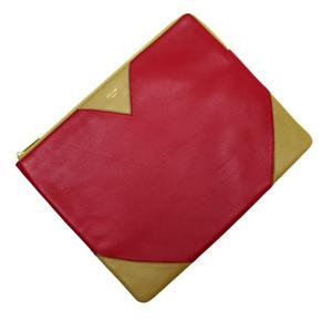 Celine CELINE Clutch Bag Brown Red Leather Ladies 2958