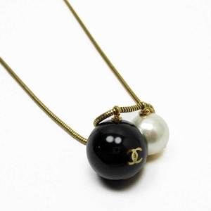 Chanel CHANEL Necklace Coco Mark Black Gold Pearl Fake 3100