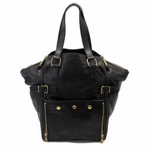 YVES SAINT LAURENT handbag dark brown gold leather suede ladies 2310