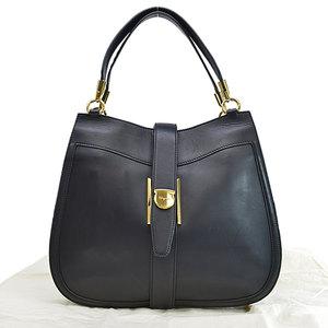 Salvatore Ferragamo Bag Black Gold Leather Shoulder Ladies r7766b