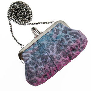 Christian Louboutin Chain Shoulder Bag Pochette Blue Pink Lame Silver Canvas Ladies 3064