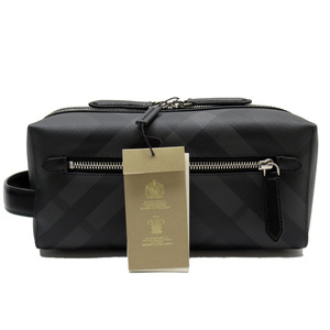 Burberry BURBERRY Second Bag Check Black Gray PVC Leather 3178d