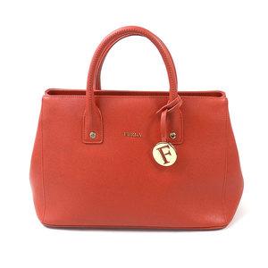 Furla FURLA Handbag Orange Gold Leather Ladies 2007
