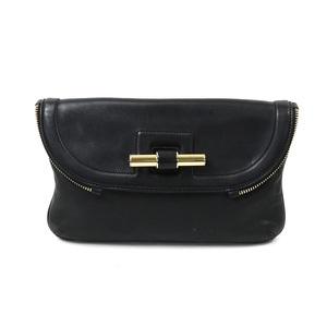 Jimmy Choo JIMMY CHOO Clutch Bag Black Gold Leather Ladies 1935